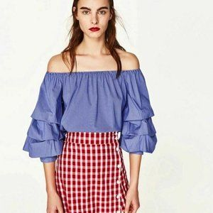 Zara Blue Striped Ruffle Sleeve Top Blouse Size M